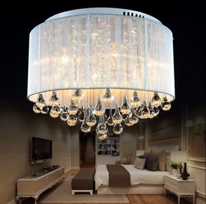Moderna y romántica tela de plata redonda luces de techo de sombra plafones luces empotradas lamparas colgantes comedor decorativo dormitorio