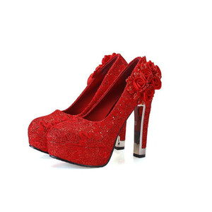 Hot Sale Red Wedding Shoes Bridal Pumps Women's Girl Rose Flower Party Shoes High Chunky Heels Shoes 11 cm