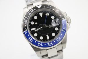 relojes de los hombres U1 fábrica promocionales de alta calidad GMT 116710 Batman cerámica bisel giratorio mano original hebilla de reloj mecánico automático