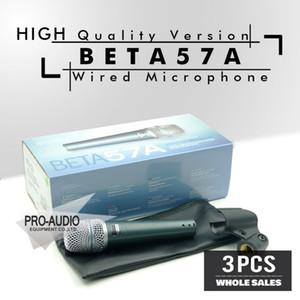 Kostenloser Versand Großhandel 3 teile / lose BETA57 Professionelle BETA57A Super Kardioid Handheld Dynamische Kabelmikrofon Beta 57A 57 A Mic