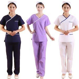 Set manica corta da donna a manica corta con scollo a V Top e pantaloni / abiti da lavoro estetista / cappotto da lavoro dentale