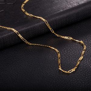 Venda quente colar Mens Figaro Cadeia 2mm 470mm Colares Correntes de ouro 18k amarelo / Rose banhado a ouro Worldwide Moda Jewerly Cahins