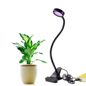 LED Grow Light 8W Regolabile 2 livelli Dimmable Clip Desk Grow Lights Lampadina Morsetto flessibile a collo di cigno 360 gradi per piante da interno Hydropon