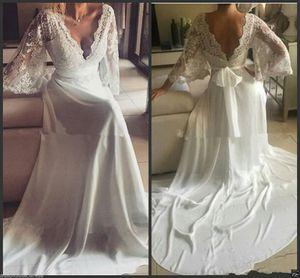 2020 Lace Chiffon Beach Wedding Dresses Long Batwing Sleeves Backless Deep V Neck Ribbon Sash Bridal Gowns Vestidos de Noiva Custom Size