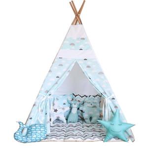 الجملة خالية من الحبblue سحابة لعب الاطفال خيمة الأطفال teepee مسرح الأطفال يلعبون teepee الغرفة