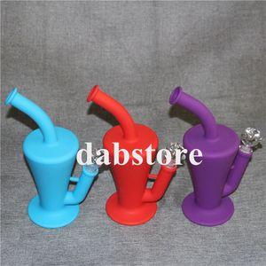 Tragbare Taper Silikon Wasserpfeife 9 Farben zur Auswahl Silikon Bong 10,5 Zoll Silikon Burral Oil Rig mit Glasrohr und Darm