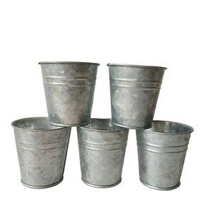 Freies Verschiffen silbrige Farbe Metall Planter klein Verzinkte Topf Garten Eimer Mini Nursery Pot Garden Supplies