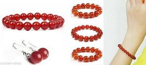 Braccialetti / orecchini con perle di giada rossa set 10mm / 18