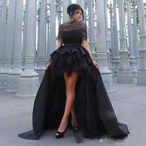 2017 vestito da partito cocktial nero Tulle Boat Neck High low backless pleats Prom Dress Abiti da ballo per la madre e la figlia