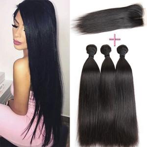 100% Unprocess Encerramento Com 3 Feixes de Cabelo Humano Brasileiro sagacidade Tecer Indiano Peruano Reta Cabelo Virgem Brazillian cabelo