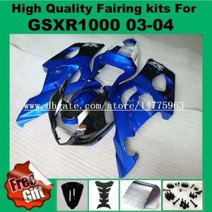 Carimbos de injeção para SUZUKI GSXR1000 03 04 GSX-R1000 03 04 Kit de carenagem para preto azul GSXR1000 2003 2004 K3 K4