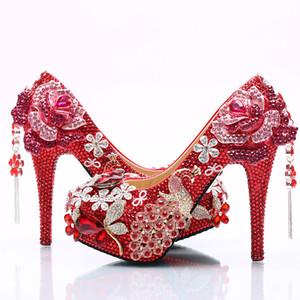 Luxe Fadish Strass Mariage Rouge Étincelant AB Cristal Robe De Mariée Robe Habillée À Talons Hauts Cristal Mariée Chaussures Filles Photo Robe De Soirée Chaussures