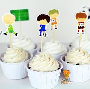 Toptan-24 Adet / grup Futbol futbol Spor boys Parti cupcake yonca alır Doğum Günü Partisi Dekorasyon Çocuklar Malzemeleri
