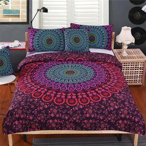 Mandala Bedding Set Queen Soft Bedclothes Twill Bohemian Print Duvet Cover Set with Pillowcases 4pcs Bed Set Home