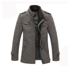 Neue Männer Woolen Mäntel Mitte Lange Jacken Mäntel Hight Qualität Herbst Winter Ankunft Herren Mode Warm Wolle Mantel Stehkragen