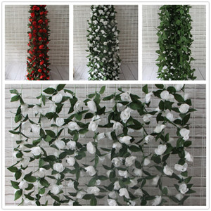 الاصطناعي روز إكليل الحرير زهرة كرمة اللبلاب الرئيسية زفاف حديقة الديكور الأحمر الأبيض يترك الأخضر 180 سنتيمتر