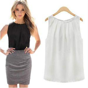 Femmes Blouses Roupas Femininas Tropical Sexy Fold Sans Manches En Mousseline De Soie Plus La Taille Mesdames Blouses Casual Tops Vêtements S-XL
