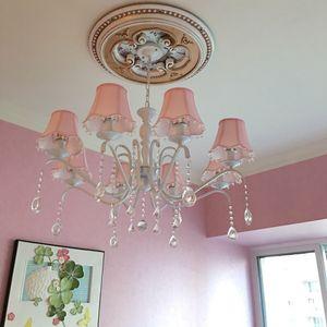 Amerikan çocuk odası avize kız Prenses Pembe bez basit Avrupa Akdeniz yatak odası demir kristal Avizeler Butik ışıkları