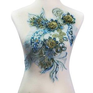 1 peça 3D Flor de Lantejoulas Azul Bordado de Ouro Bordado Applique Pacthes Lace Tecido Guipure Motivo Nupcial Acessórios De Costura T2139