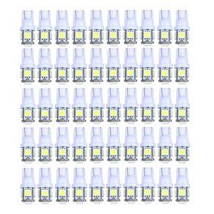 100Pcs Super Bright White T10 Wedge 5-SMD 5050 LED Side Plate Piastra parcheggio Lampadine a cupola W5W 2825 158 Cold Xenon White 6500K