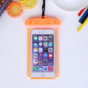 2 pcs brilho universal no escuro à prova d 'água bolsa para iphone7 plus para samsung galaxy j5 s5 case capa de natação bolsa de telefone à prova d' água fluorescente