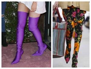 Seksi Bahar Moda Pist Sıkı Çorap Çizmeler Sivri Burun Stiletto Topuk Uyluk Yüksek Çizmeler Kylie Jenner Ayakkabı Kadın Crotch Patik ...