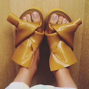 Knots Fashion Patent Leather Slides 2017 New Fashion Designer Women Casual Platform Flats Sandals Flip Flops Summer Shoes Woman