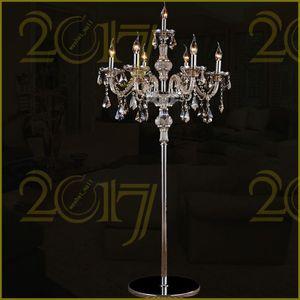 Wholesale-7Head cristallo lampada da terra cognac luci di cristallo lampada stand soggiorno camera da letto di lusso lampada da terra di cristallo