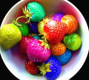 100 sementes / pacote rainbow morango sementes de frutas Multi-cor morangos sementes de flores sementes de jardim potes plantadores
