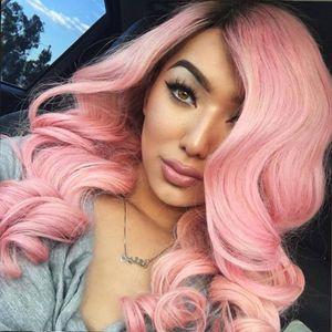 Resistente à temperatura Rosa top cabelo sintético rendas frente perucas de cabelo sintético perucas ombre perucas sintéticas mulheres