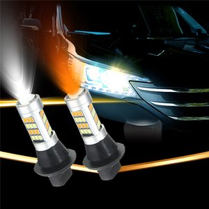 2pcs T20 7440 2835 42 SMD 1000LM LED 20W Car DRL Daytime Running luz Dual Color Switchback Vire Lamp Signal Lâmpada DC 12-24V