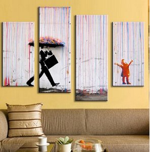 4 صور بانكسي الفن المطر الملونة وحة زيتية لوحات لغرفة المعيشة لون الجدار وحة زيتية تجريدية