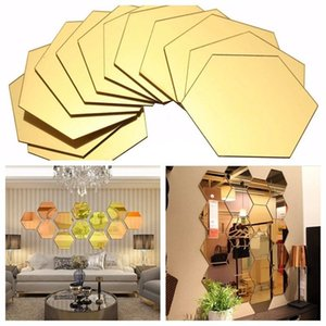 12 pcs / set 3d espejo pegatina de pared hexagonal vinilo removible etiqueta de la pared calcomanía decoración del hogar arte DIY 8cm