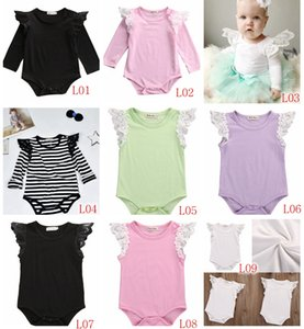 2017 INS Yaz Sonbahar Yeni bebek kız Pamuk siyah beyaz Şerit yenidoğan Dantel Fly kol tulum Bebek Yürüyor Kız Romper Tulumlar 9 renkler