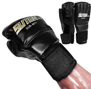 1 par de guantes de boxeo de cuero de la PU deporte hombres medio dedo guantes de muay thai mma kick boxing entrenamiento guantes de boxeo guantes tácticos