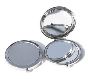 2017 Ücretsiz Kargo 70mm Cep Kompakt Ayna Yuvarlak Metal Gümüş Makyaj Aynası Promosyon Hediye şekeri