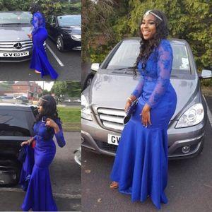 Zarif Afrika Kraliyet Mavi Uzun Kollu Mermaid Gelinlik Modelleri 2K17 Sheer Dantel Aplike Akşam Partisi Törenlerinde Kat Uzunluk Ünlü 2017