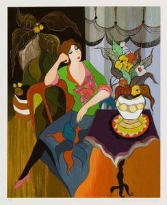 Encadré Itzchak Tarkay Denis Day Dreami, peinture à l'huile sur toile abstraite Portrait Portrait abstraite peinte à la main sur mesure.any taille personnalisée acceptée wxh05