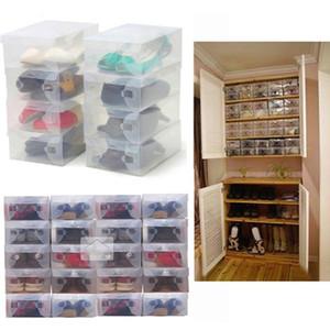 28 x 18 x 10 cm Mulheres transparentes Crystal Stackable Sapatos Plásticos Caixas de Armazenamento 11pcs / lote Frete Grátis