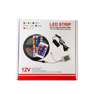 5M 300 Leds RVB led 5050 lumières de bande Set + 44 touches ir télécommande + adaptateur d'alimentation