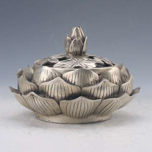 Çin Tibet Gümüş El oyması Lotus Tütsü Brülör Qianlong Z206