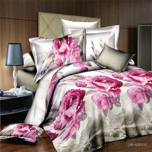 Noble Peonie stampata floreale 4 pezzi Bedding Set, King Size trapunta copripiumino lenzuolo federa Set, tessili per la casa Biancheria da letto di nozze