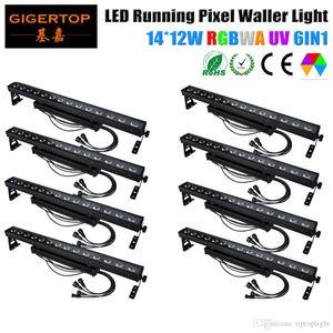 Цена со скидкой 8PCS 14X12W RGBWA Фиолетовый 6in1 Led Wall Washer Light Running Horse / Pixel Индивидуальный контроль IP65 Indoor / Outdoor