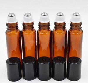 1000pcs calientes de la venta / Lot rollo de 10 ml de color ámbar en botellas de vidrio de rodillos para aceites esenciales vaciar botella de perfume recargable con rodillo metálico casquillo negro