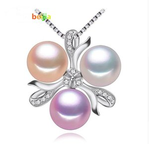 Collar de perlas de joyería fina, Bohemia Nuevo Blanco rosado púrpura perla collar de perlas encanto de las mujeres colgante de perlas