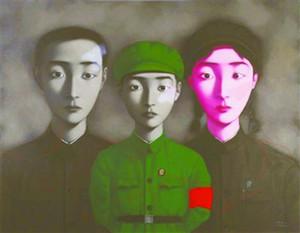 Livraison gratuite, beaucoup de gros, z019 #, 100% Artisanat Art Portrait peinture à l'huile par Zhang Xiaogang, toute taille personnalisée acceptée