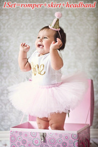 """ins nouveau bébé filles """"un"""" lettre à volants impression barboteuse + jupe tutu + bandeau 3pcs anniversaire Set tenues enfants vêtements en coton costume pour bébé"""