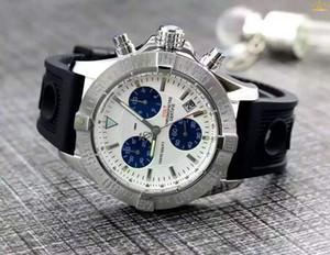 Couro Trabalho Cronógrafo Mens Preto Cronômetro Stainless Steel Quartz Movimento homens Relógios de pulso Fashion Designer Relógios btime