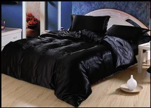 Atacado preta amora Natural cama de seda conjunto king size rainha completo cama de solteiro capa de edredão em uma cor sólida folha de saco de cetim 4PCS