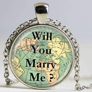 Liebe Halskette Karte Schmuck Reisen Halskette Sie heiraten mich Halskette Glaskuppel Anhänger